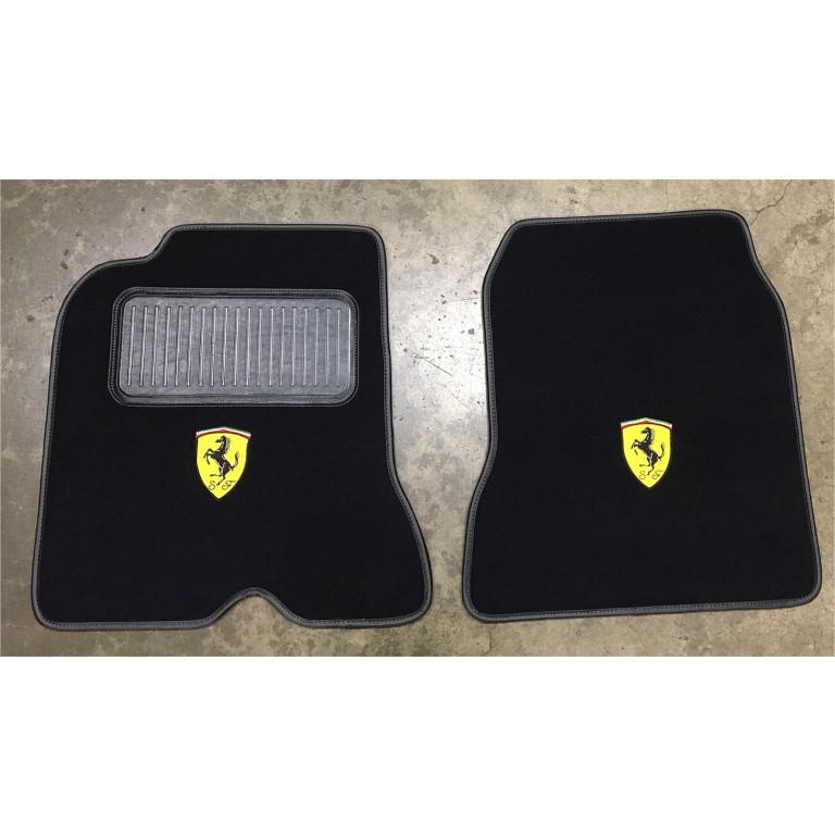 Tailored Black Carpet Floor Mats 2pc Colour Trim Edge Mat Set For Ferrari 488