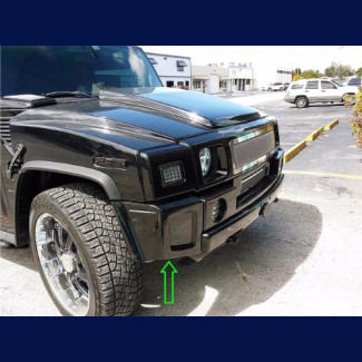 2003-2009 Hummer H2 Sport Box Style 2PC Front Add On Bumper Extensions (1 Set)