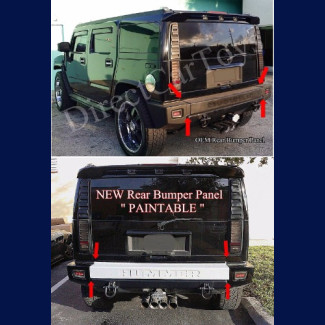 2003-2009 Hummer H2 Factory Style Rear Bumper Center Panel (Extended) PAINTABLE