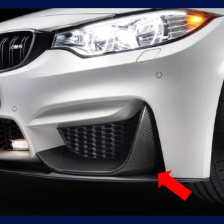 2014-2015 BMW (F80) M3 Real Carbon Fiber 2pc Front Bumper Spliter Caps