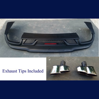 2014-2017 Maserati Ghibli W-Style Rear Bumper Skirt w/ Exhaust Tips