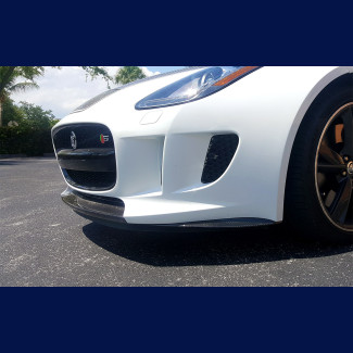 2014-2016 Jaguar F-Type Tesoro 3pc Front Bumper Lip Kit - Carbon Fiber
